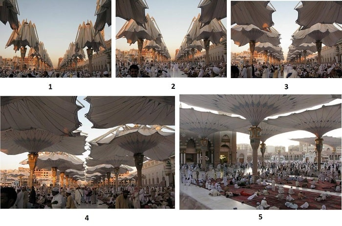 مراحل باز شدن سقف متحرک مسجد مدینه